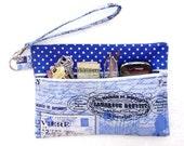 Blue Paris Themed Wristlet, Blue White Clutch, Small Zippered Bag, Ladies Wallet, Silver Dots Makeup Pouch, Front Zippered Purse, Phone Bag