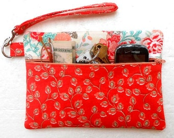 Peach Cell Phone Wristlet, Small Zipper Bag, Wallet With Strap, Floral Clutch Bag, Makeup or Gadget Holder, Camera Pouch