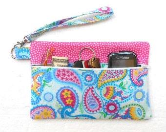 Blue Paisley Wristlet, Pink Clutch, Small Zipper Bag, Cell Phone Wallet, Blue Wrist Purse, Makeup or Camera Pouch, Gadget Bag