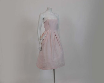 1950s dress / Perfect In Pink Vintage 50's Two Tone Strapless Dress with Matching Jacket