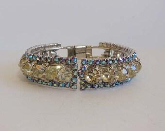 1950s bracelet / Vintage 50's Blue Rhinestone Clamper Bracelet