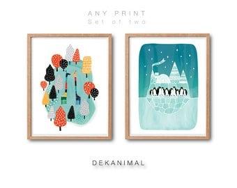 Giraffes Print, Penguins Print Set, Any 2 prints, Animal Print, Kids room decor, Nursery decor, Watercolor Art