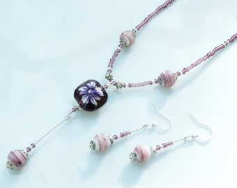 SET - Purple & White Floral Lampwork Pendant Necklace and Earrings