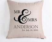 Mr and Mrs Personalized Wedding Gift Pillow Cover Pillow Case
