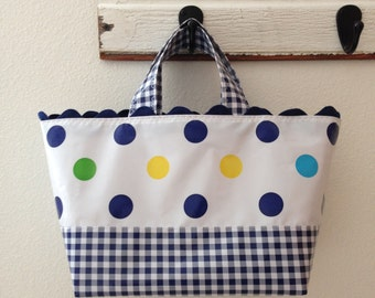 Beth's Blue Tokyo Dot Oilcloth Basket Tote Bag With Gingham and Rick Rack Accents