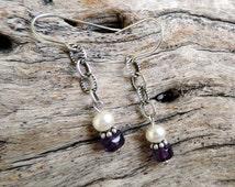 Unique Fresh Water Pearls Sterling Silver  Amethyst Earrings