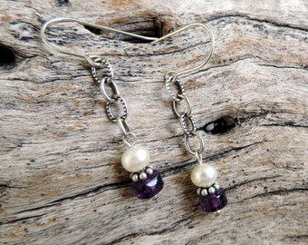 Unique Fresh Water Pearls Sterling Silver  Amethyst Earrings
