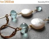 FLASH SALE, Something Blue Aqua Quartz and Coin Pearl Earrings