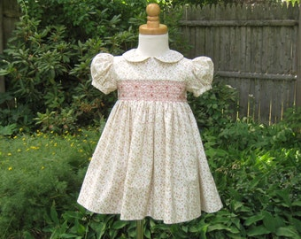 Hand smocked girls dress, size 24 Mo, Pink rosebuds, toddler dress, ready to ship, birthday gift, flower girl, special occasion, heirloom