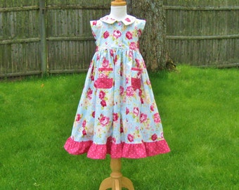 Toddler girls, Pink roses, maxi dress, blue dress, size 3, party dress, Easter, shabby chic, special occasion, birthday, ready to ship, OOAK