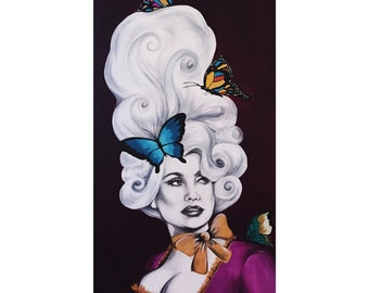Dolly Antoinette original mixed media painting 22x48
