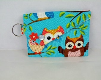 Aqua Hoot Owls Card Holder Coin Purse with Snap Flap Closure and Key Ring