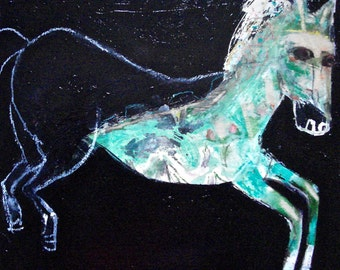 EMERY original painting 'off this corporate carousel' expressionism folk  outsider horse corporate free green