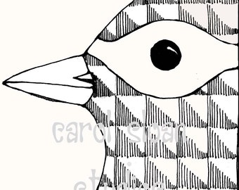 Illustrated Bird Drawing Thermofax Screen