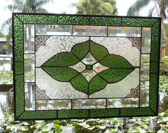 Vintage Look Stained Glass Window Panel, Neutral Sage Green & Beveled Glass Art, Traditional Stained Glass Window Transom, Unique Valance