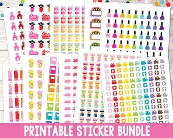 Instant Download Printable Planner Sticker Bundle Functional Planner Stickers, Icon Planner Stickers, Instant Download Printable PDF