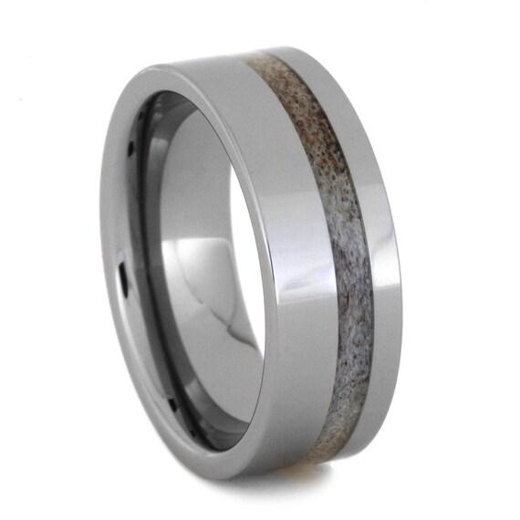 deer antler wedding band tungsten ring ring by