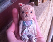 RAGGY CAT miniature antique vintage shabby primitive old small dollhouse  chic by artist raggy bears