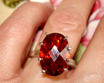vintage faceted ruby red gemstone silver cocktail ring size 7