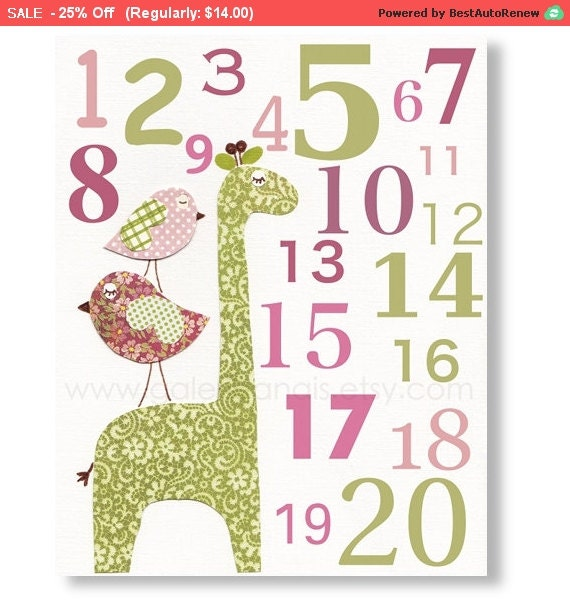 Baby Boy Nursery Decor Art Kids Art Kids Room By Galerieanais: Baby Nursery Art Children Room Decor Numbers Girl Birds