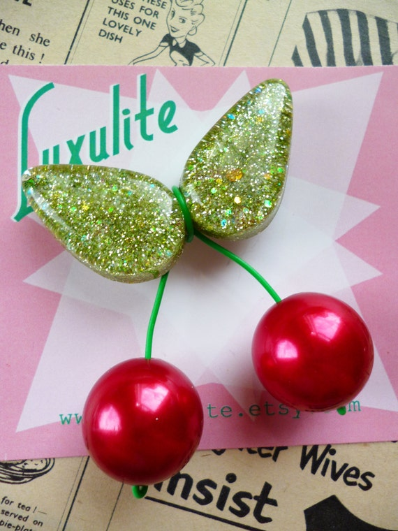 New 1940s Costume Jewelry: Necklaces, Earrings, Pins Jumbo oversized handmade sparkly light Green confetti lucite style 1940s 50s inspired red cherry brooch $18.63 AT vintagedancer.com
