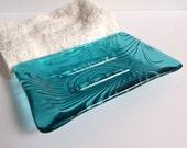 Peacock Feather Imprint Soap Dish in Light Aquamarine Fused Glass