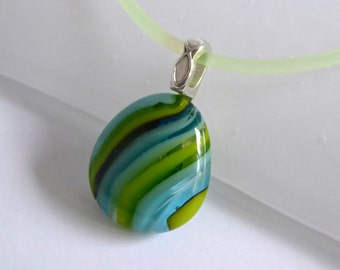 Layered Green and Blue Fused Glass Pendant