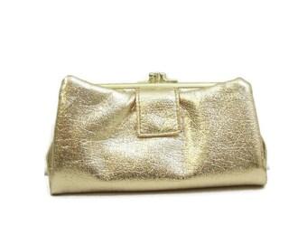 Vintage 60s Wallet Gold Vegan Metallic Clutch Cocktail Evening Bag