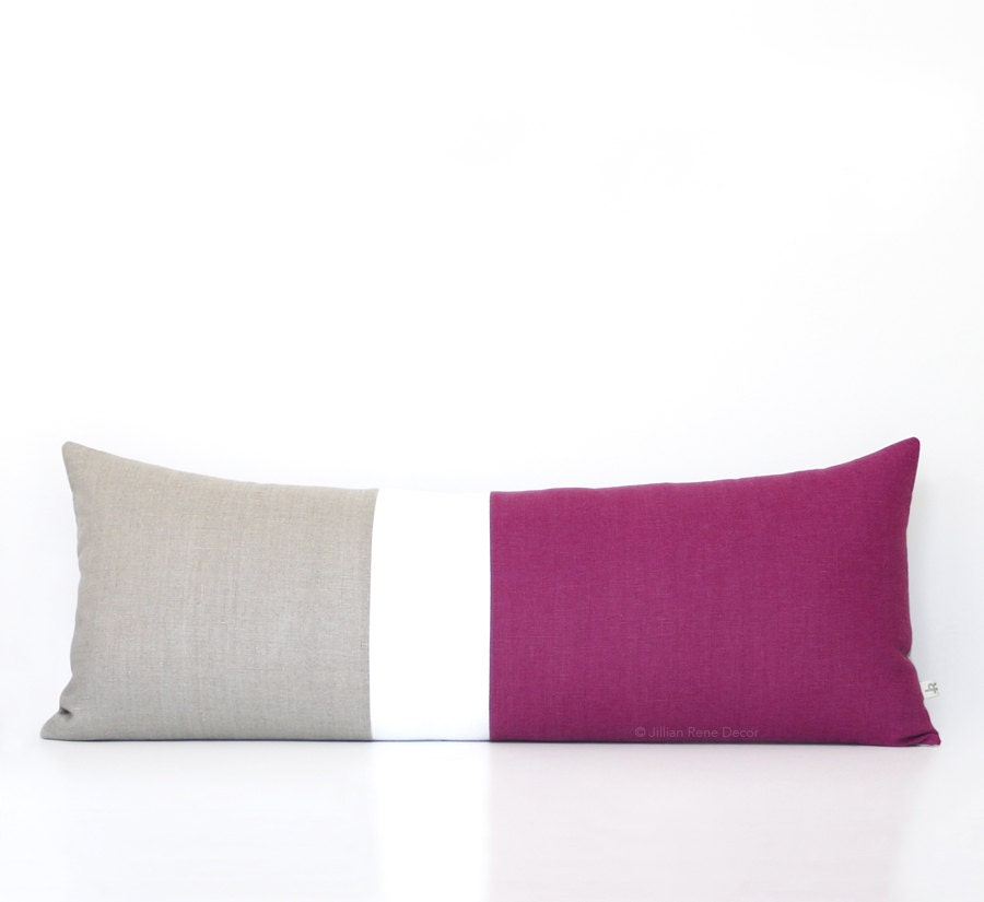 Extra Long Decorative Lumbar Pillow : 14x35 Sangria Colorblock Pillow Cover Lumbar Pillow Bedding