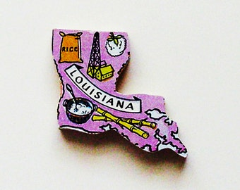 1960s Louisiana Brooch - Pin / Unique Wearable History Gift Idea / Upcycled Vintage Hand Cut Wood Jewelry / Timeless Gift Under 25