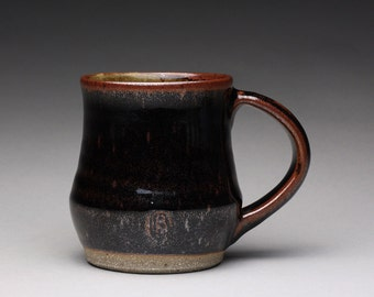 handmade pottery mug, ceramic teacup, coffee cup with black tenmoku and green celadon glazes