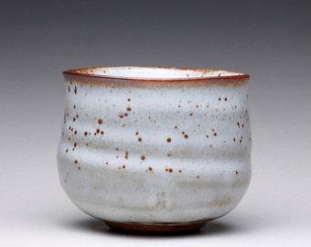 matcha chawan, pottery tea bowl, handmade cup with shino glazes