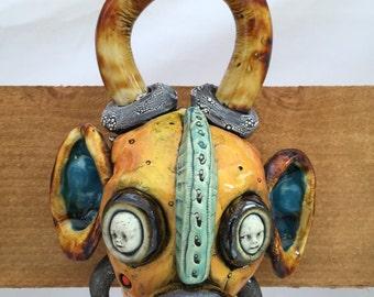 Japanese Oni, ceramic head, wall hanging, mask