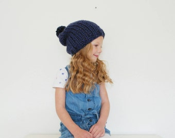 Children's Slouchy Hat with Pom Pom Hand Knitted in Navy Blue Winter Fashion Accessory