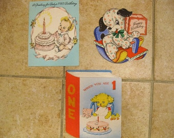 Vintage 3 pc lot Children Birthday Greeting Cards 1940s Used from Jeff