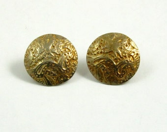 Vintage Gold Washed Sterling Silver Engraved Button Earrings Stud Earrings Post Earrings Gold Earrings Engraved Earrings Round Earrings