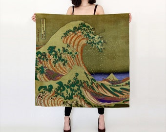 Great Wave Off Kanagawa Silk Scarf, Fashion, Accessories, Habotai Silk Shawl, Women, Beach, Cover up, Olive Green Silk Scarf, Ocean, Gift