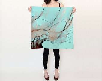 Teal Blue Pacific Sea Nettle Silk Scarf, Unique Fashion, Accessories, Habotai Silk Shawl, Women, Beach, Cover up, Christmas Gift, Jellyfish