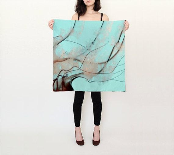 Teal Blue Pacific Sea Nettle Silk Scarf, Unique Fashion, Accessories, Habotai Silk Shawl, Women, Beach, Cover up, Christmas Gift, Jellyfish