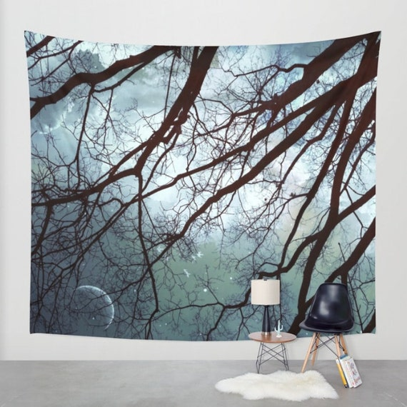 Trees Moon Wall Tapestry, Stars, Forest, Night Sky Home Decor, Nature Tapestry, Nature, Home Decor, Whimsical Tree Branches,Woodland,Woods
