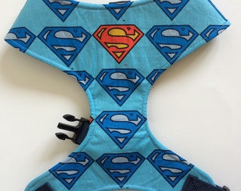 Pug Dog harness - Superman, Custom Made Soft Dog Harness