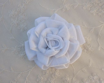 3.5 inch White Velvet Ribbon Rose Fabric Flower Applique Hat Corsage Pin Baby Pageant Bridal Hair Accessory Applique