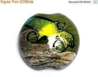 ON SALE 50% OFF 11834202 Olivine Lentil Focal Bead - Handmade Glass Lampwork Beads