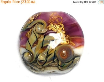 ON SALE 50% OFF Cranberry Treasure Lentil Focal Bead - Handmade Glass Lampwork Bead 11818402