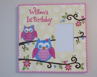 hand painted personalized canvas style picture frame 4x6 opening 1st birthday owl