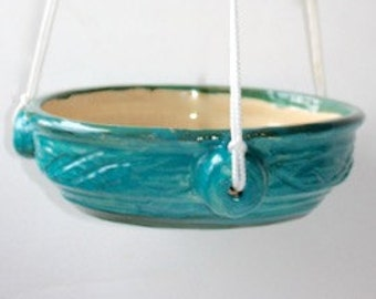 Ceramic Air Plant Holder or Succulent Hanging Planter  in Turquoise and Green in Stoneware One of a Kind