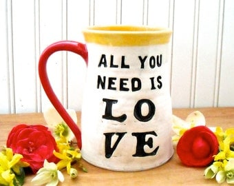 Large Mug - ALL You Need Is LOVE Beatles Quote, Heart Coffee Tea Cup - HandMade Vintage USPS Postage Stamp 8th 9th Wedding Anniversary Gift