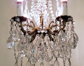 Reserved ~ Antique Brass and Crystal Petite Chandelier, Small Vintage Chandelier,