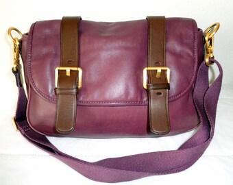 Vintage lamb leather saddle bag, hipster bag, cross body messenger bag , satchel ,purse handbag in deep plum  brown