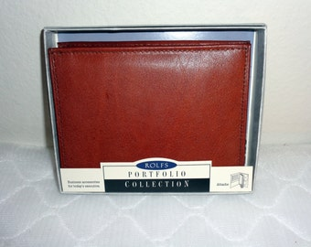 NOS Rolfs Genuine  saddle leather  mens bi fold wallet  coin purse  vintage  New in Box